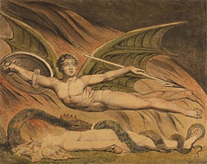Blake's drawing of Satan exulting over Eve