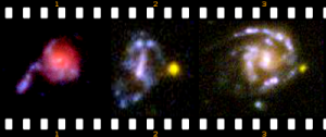 early galaxies ejecting sreams of star globs from their cores
