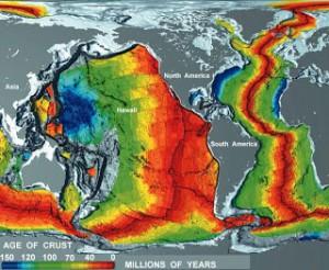 Sea floor relative age